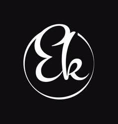 initial ek script letter type logo design vector image