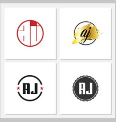 initial letter aj logo template design vector image