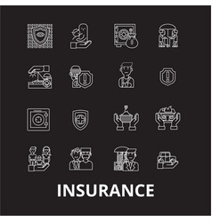 insurance editable line icons set on black vector image