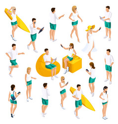 isometrics set people 3d teenagers vector image