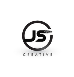 Js brush letter logo design creative brushed vector