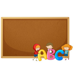 Kids holding abc on corkboard vector