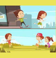 Kids sport outdoors horizontal banners vector