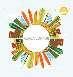 Kuala lumpur skyline with color buildings blue vector