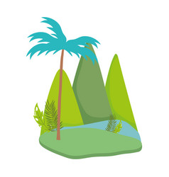 landscape tropical tree palms mountains cartoon vector image