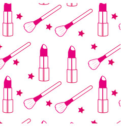lipstick and brush background vector image