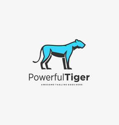 logo power full tiger mascot cartoon vector image