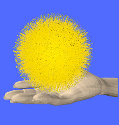 man hand holds a yellow star 3d vector image
