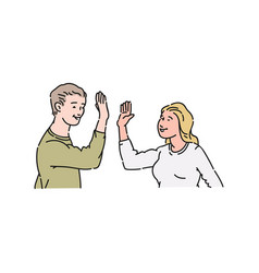 Man in sweater gives five and claps hands vector