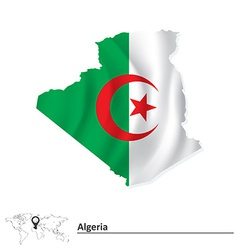 Map of Algeria with flag vector