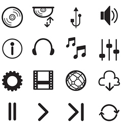 Media player icons set multimedia isolated vector