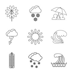 Meteorological conditions icons set outline style vector