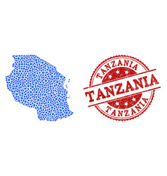 Mosaic map of tanzania with connected dots and vector