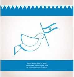 Peace dove holding Israeli flag vector