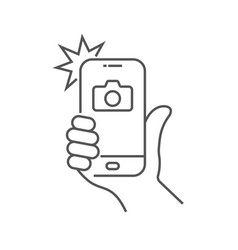 Photo on smartphone with flash hand is holding vector
