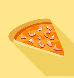 Pizza with seafood icon flat style vector