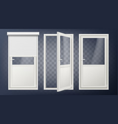 plastic glass door white roller shutter vector image
