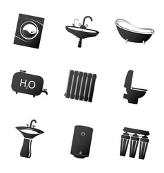plumbing icons set simple vector image
