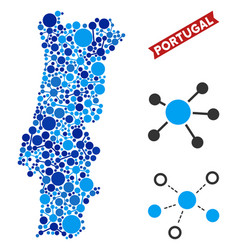 Portugal map links collage vector