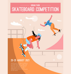 Poster skateboard competition concept vector