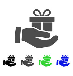 present box give hand flat icon vector image
