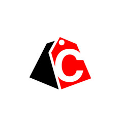 price tag with letter c sign icon vector image
