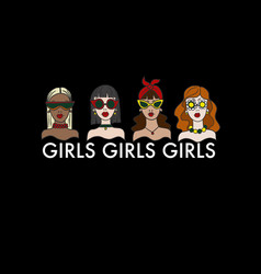 print for t-shirt with girls vector image