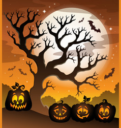 Pumpkin silhouettes theme image 6 vector