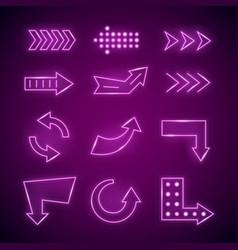 realistic detailed 3d neon arrow set vector image