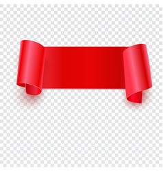Red banner on transparent vector image