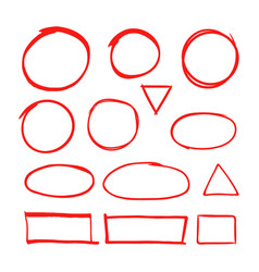 red hand drawn shapes marker for highlighting text vector image