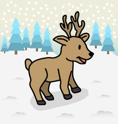 Reindeer with Flat Winter Scene vector