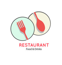 Restaurant food drinks logo fork spoon backgroun vector