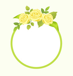 Rose yellow flowers with green leaves photo frame vector