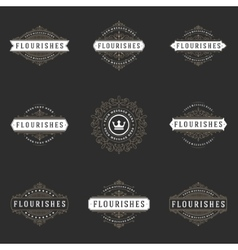 Royal Logos Design Templates Set Flourish vector image
