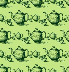 seamless pattern drawing of green teapot vector image