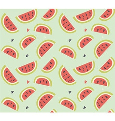 Seamless pattern with hand drawn watermelon fruit vector image
