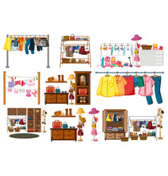 Set clothes accessories and wardrobe isolated vector