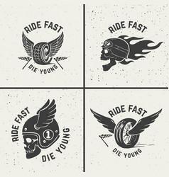 Set hand drawn biker emblems skull with fire vector