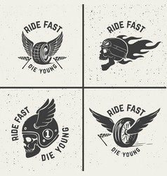 Set of hand drawn biker emblems skull with fire vector