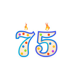 seventy five years anniversary 75 number shaped vector image