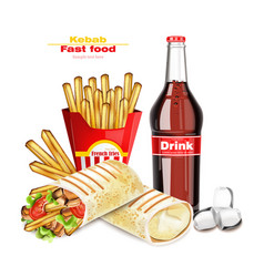 Shawarma or kebab menu fast food delicious vector