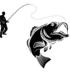 Silhouette fisherman vector