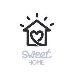 Simple icon of house with heart shape within vector