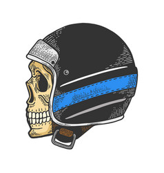 skull in motorcycle helmet color sketch vector image
