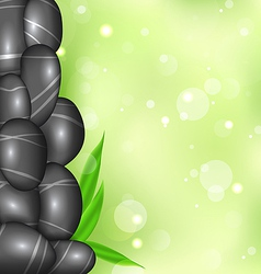 Spa background with bamboo leaves and stones vector