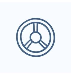 Steering wheel sketch icon vector image