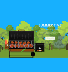 summer time poster with meats on barbecue grill vector image