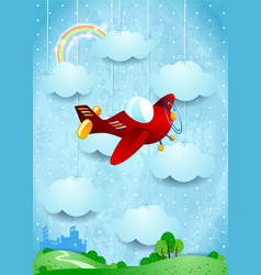 surreal landscape with small city and airplane vector image