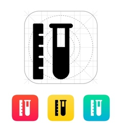 Test tube with ruler icon vector image